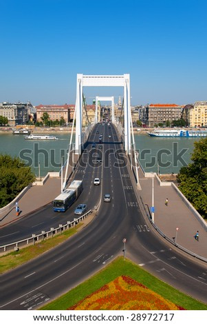 Elisabeth Bridge in Budapest, Hungary - stock photo