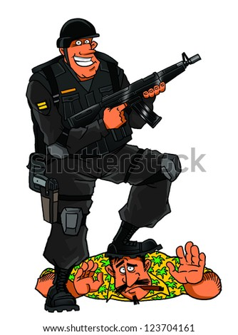 Elite soldier and criminal element - stock photo