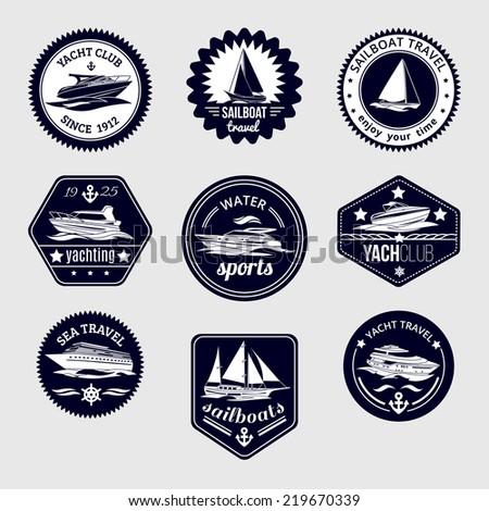 Elite world water sport yacht club sailboat sea travel design labels set black icons isolated  illustration - stock photo
