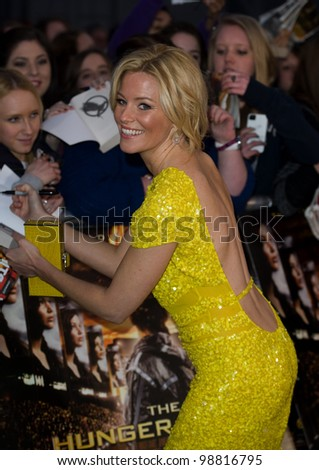 Elizabeth Banks arriving at The Hunger Games Premiere, at the 02 Arena, London. 14/03/2012 Picture by: Simon Burchell / Featureflash - stock photo
