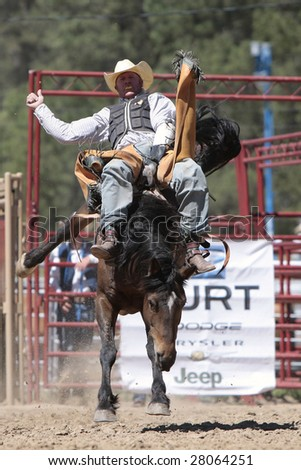 ELIZABETH, CO- JUNE 7: A PRCA bareback cowboy rides a tough bronco in the Elizabeth Stampede Rodeo June 7, 2008 in Elizabeth It is considered one of the best small town rodeos in the country. - stock photo