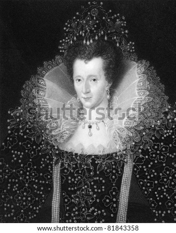 Elizabeth I (1533-1603). Engraved by W.Holl and published in The Gallery of Portraits with Memoirs encyclopedia, United Kingdom, 1837. - stock photo