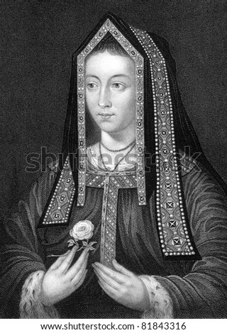 Elizabeth of York (1466-1503). Engraved by W.Holl and published in Lodge's British Portraits encyclopedia, United Kingdom, 1823.