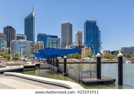 Elizabeth Quay waterfront in Perth Western Australia - stock photo