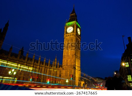 Elizabeth Tower night shot in london - stock photo