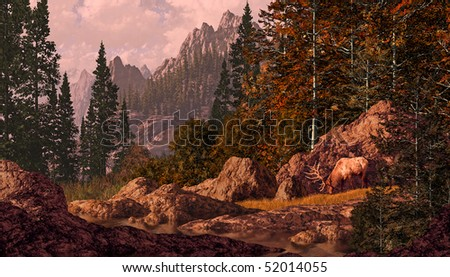 Elk grazing in the Rocky Mountains. - stock photo