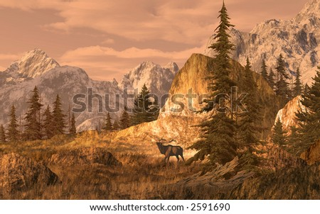 Elk In The Rocky Mountains / 15x24 painting / SW-012 - stock photo