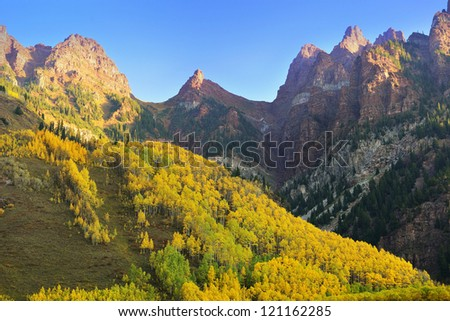 Elk Mountains of Colorado with golden and green trees during foliage