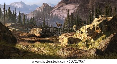 Elk near a stream in a Rocky Mountain landscape. - stock photo