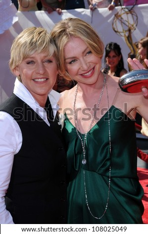 Ellen DeGeneres and Portia de Rossi  arriving at  the 35th Annual Daytime Emmy Awards. Kodak Theatre, Hollywood, CA. 06-20-08 - stock photo