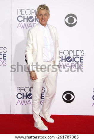Ellen DeGeneres at the 41st Annual People's Choice Awards held at the Nokia L.A. Live Theatre in Los Angeles on Tuesday January 7, 2015.  - stock photo