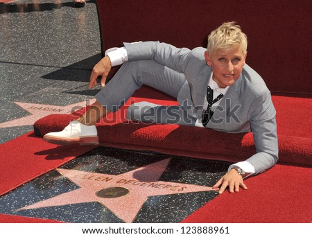 Ellen DeGeneres on Hollywood Blvd where she was honored with the 2,477th star on the Hollywood Walk of Fame. September 4, 2012  Los Angeles, CA Picture: Paul Smith - stock photo