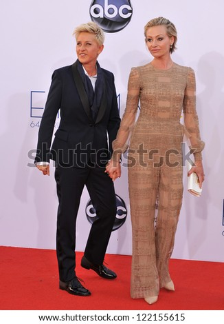 Ellen DeGeneres & Portia De Rossi at the 64th Primetime Emmy Awards at the Nokia Theatre LA Live. September 23, 2012  Los Angeles, CA Picture: Paul Smith - stock photo