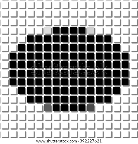 Ellipse. The simple geometric pattern of black squares with shadowed frame. Set of dot patterns. Halftone pattern for the posters, banners, leaflets, flayers, presentations, - stock photo