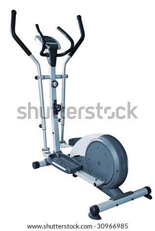Elliptical cross trainer detail isolated on white background