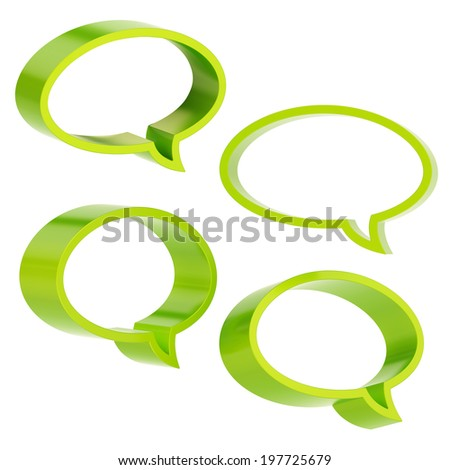Elliptical shaped green text bubble dimensional shapes isolated over the white background, set of four foreshortenings - stock photo