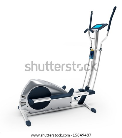 Elliptical stationary bicycle over white background. Isolated, high resolution 3D Render.