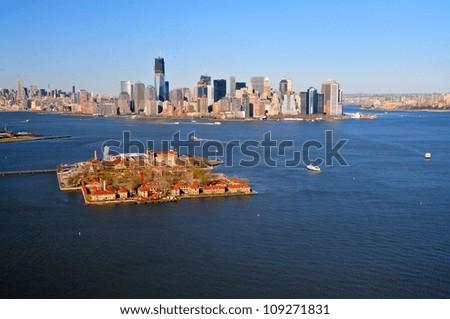 Ellis Island & downtown Manhattan, New York - stock photo