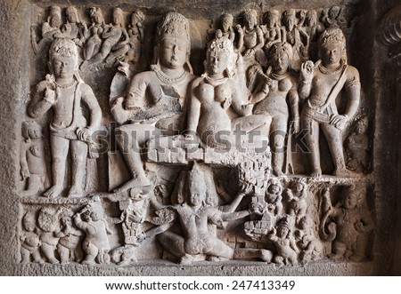 Ellora caves near Aurangabad, Maharashtra state in India - stock photo