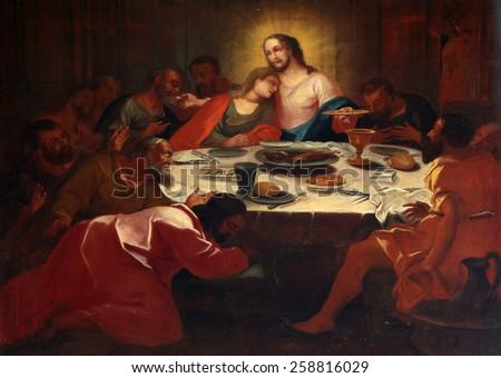 ELLWANGEN, GERMANY - MAY 07: Last Supper , Basilica of St. Vitus in Ellwangen, Germany on May 07, 2014. - stock photo