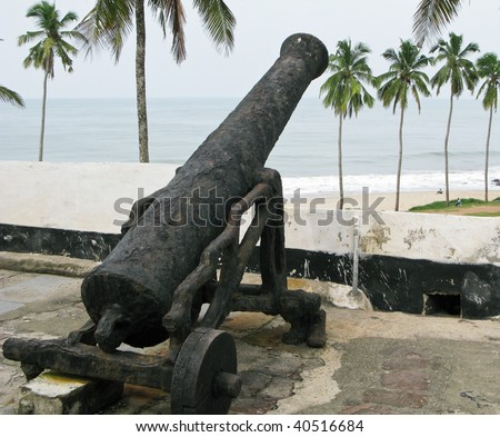 Elmina Castle was the exit port for slaves from Ghana in Africa. This is one of the old rusted cannons