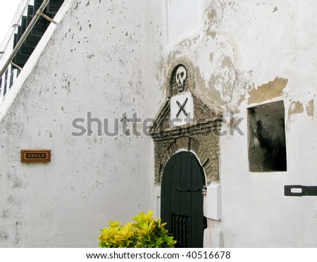 Elmina Castle was the exit port for slaves from Ghana in Africa. This is the entrance to the cells - stock photo