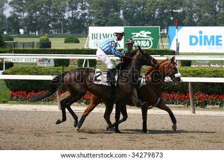 ELMONT, NY- JULY 25: Javier Castellano aboard Mr. Sandman in the post parade for the fifth race at Belmont Park- July 25, 2009 in Elmont, NY.