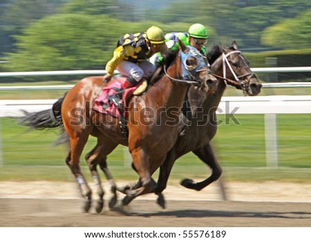 ELMONT, NY - JUN 19: Kiln Creek and jockey Jorge Chavez (yellow cap) hold off Well Meant and Abel Lezcano to finish second in a claiming race at Belmont Park on Jun 19, 2010 in Elmont, NY.