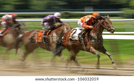"ELMONT, NY - JUN 23: Ramon Dominguez and ""Leading Citizen"" (#2) compete in an allowance race at Belmont Park on Jun 23, 2012 in Elmont, NY."