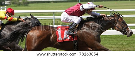 ELMONT, NY - MAY 29: Jockey Alex Solis pilots filly My Assets to her maiden victory at Belmont Park on May 29, 2011 in Elmont, NY. - stock photo