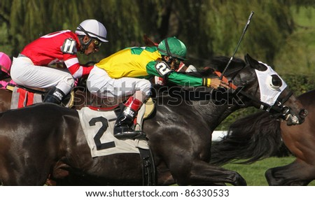 """ELMONT, NY - OCT 8: Jockey John Velazquez and """"Indy Scent"""" (#2) race to a 2nd place finish in a claiming race at Belmont Park on Oct 8, 2011 in Elmont, NY. - stock photo"""