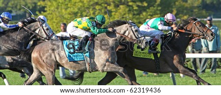 ELMONT, NY - 2 OCT: Jockey Kent Desormeaux pilots Paddy O'Prado (#9) to a second-place finish in the Joe Hirsch Turf Classic at Belmont Race Track on Oct 2, 2010 in Elmont, NY. - stock photo
