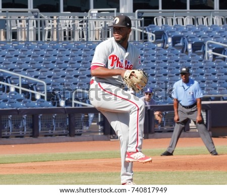 Elniery Garcia pitcher for the Glendale Desert Dogs at Peoria Sports Complex in Peoria,AZ USA October 23,2017.