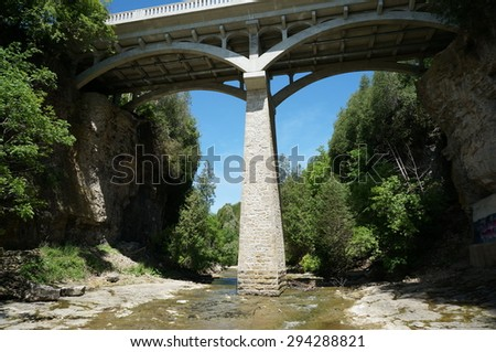 elora gorge ontario bridge - stock photo