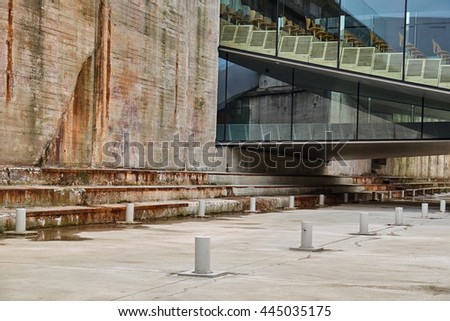 ELSINORE, DENMARK - APRIL 30, 2016: Detail of new and old buildings in the Maritime Museum of Denmark by Bjarke Ingels