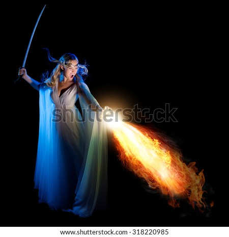 Elven girl with sword isolated - stock photo