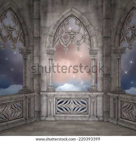 Elven terrace background - stock photo
