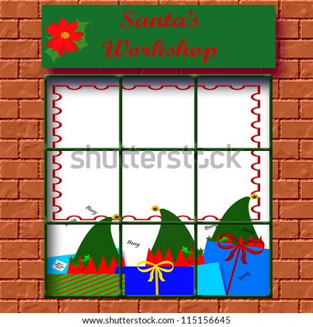 elves at work in Santa's workshop illustration - stock photo