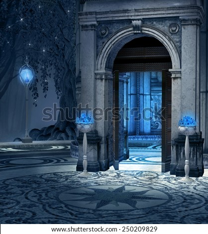 Elves palace background - stock photo