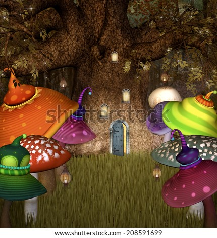 Fantasy mushroom cottage house on colorful stock for Colorful tree house