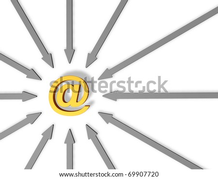 email alias and arrows - 3d illustration - stock photo