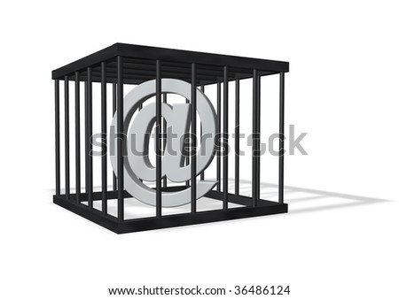email alias in a cage on white background - 3d illustration - stock photo