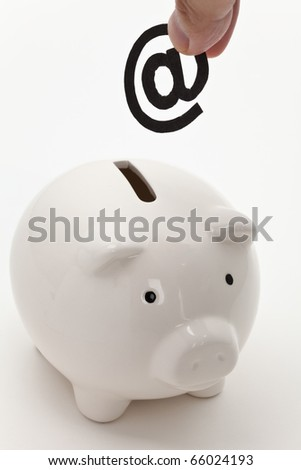 email and piggy bank, concept of E-commerce