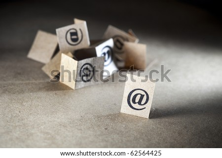 Email communication concept. Many e-mail symbols - stock photo