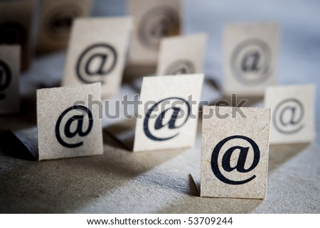 Email concept background with many e-mail symbols - stock photo