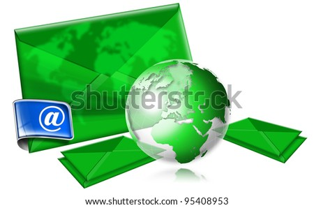 Email Concept With Green Globe / E-mail marketing concept on white background with green globe - stock photo
