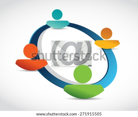 email correspondence people connection illustration design over white background - stock photo