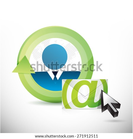 email correspondence people cycle illustration design over white background - stock photo