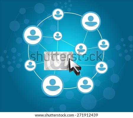 email correspondence people diagram illustration design over blue background - stock photo