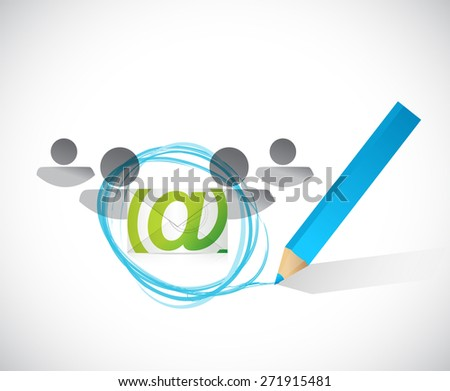 email correspondence people selection illustration design over white background - stock photo